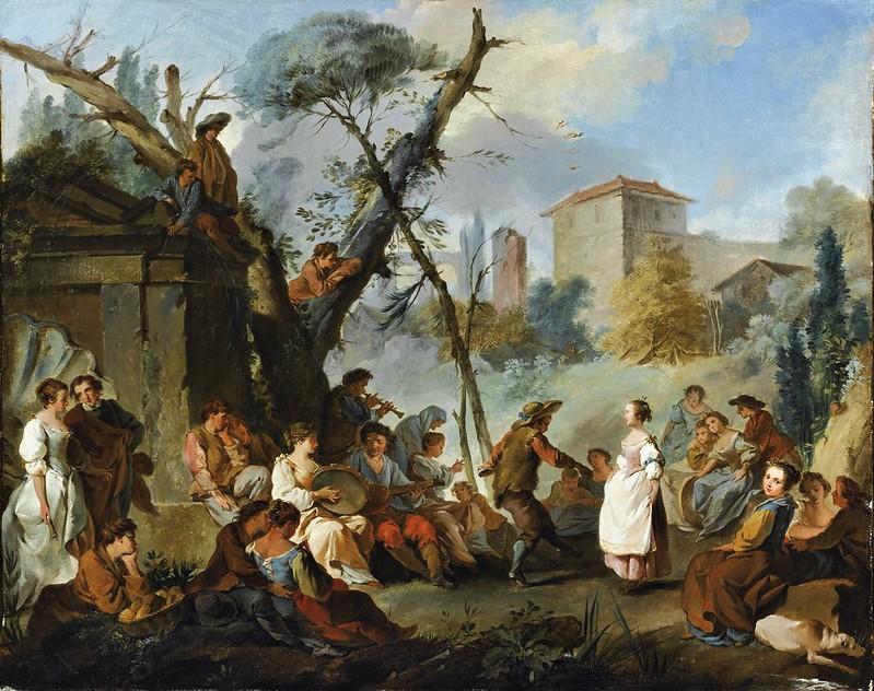 Jean-Baptiste Marie Pierre - Le Paysage avec personnages jouant de la musique et dansant