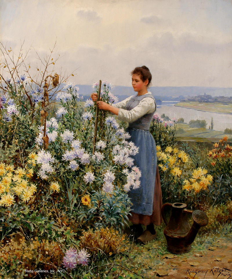 Chrysanthemums by Daniel Ridgway Knight, 1898. Image courtesy of Rehs Galleries, Inc., NYC