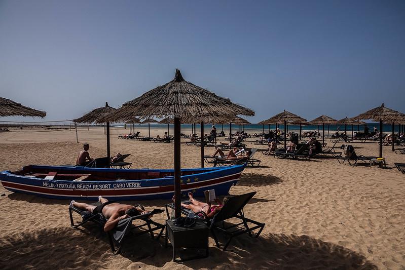 The hotel beach
