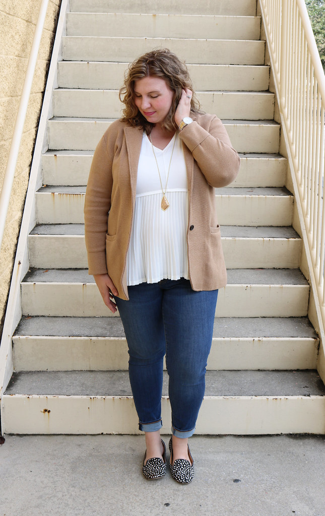 tan sweater blazer, cream peplum top, skinny jeans, black and white polka dot loafers 2
