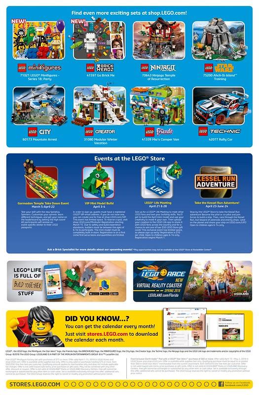 April 2018 LEGO Store Calendar