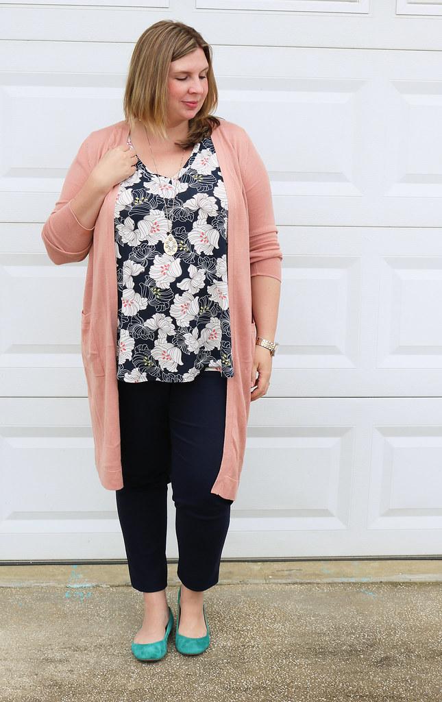 long rose cardigan, navy floral top, navy pencil pants, teal flats 6