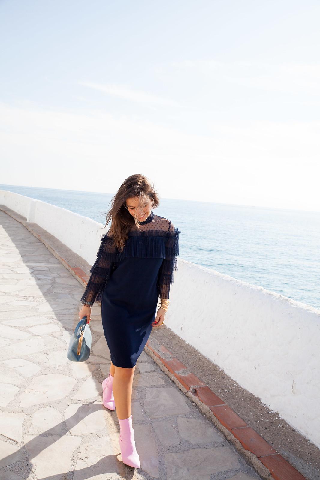 vestido azul lace