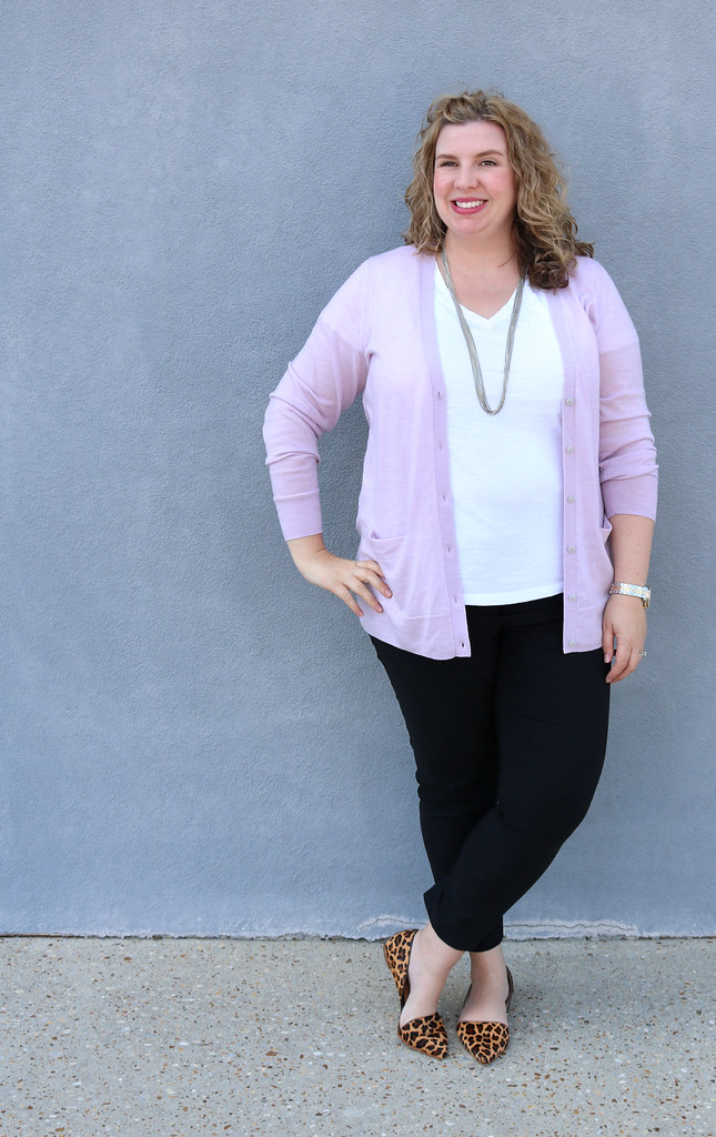 lilac cardigan, white tee, black pencil pants, leopard flats 5