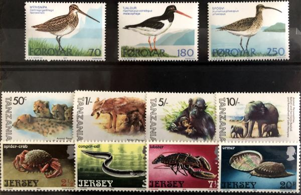 Známky Zvieratá a vtáci, 3 nerazené série