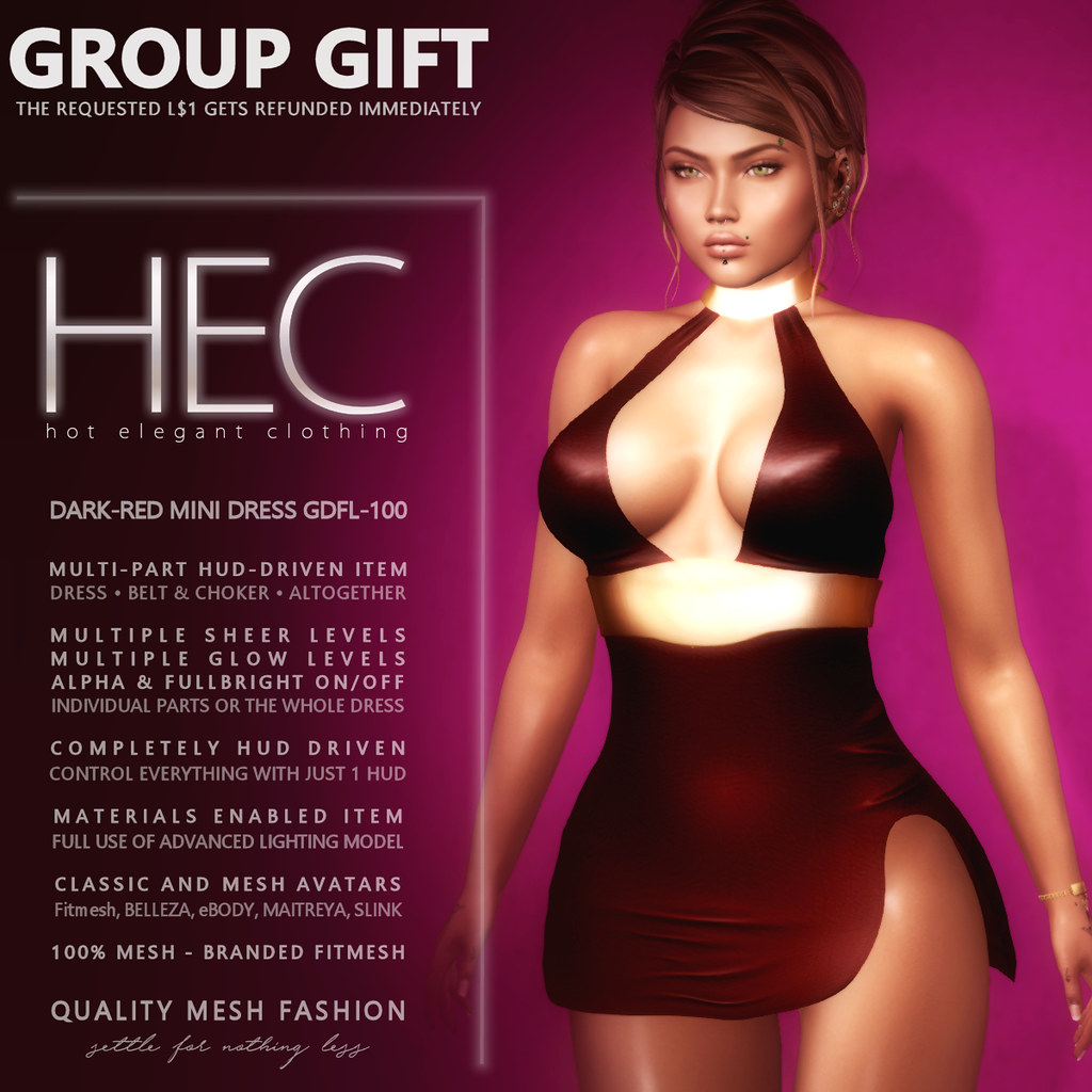 HEC (EVENT EXCLUSIVE GIFT) • DARK-RED MINI DRESS GDFL-100 - TeleportHub.com Live!