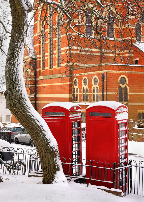 Red Telephone Boxes Powis Square, Brighton - February 2018 Snow