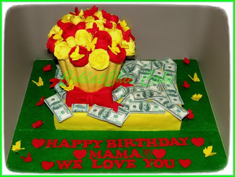 Cake US$ dan Giant Cupcake flower MAMA 20x30 cm + 2 x 20 cm