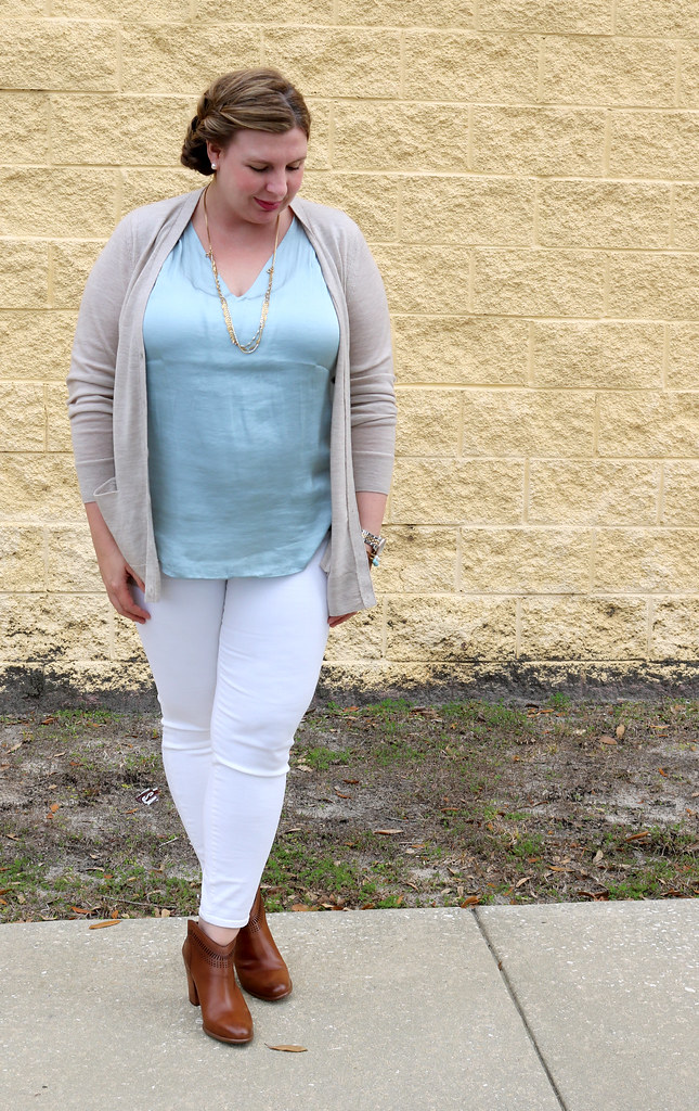 white jeans, tan cardi, aqua shell, cognac booties 5