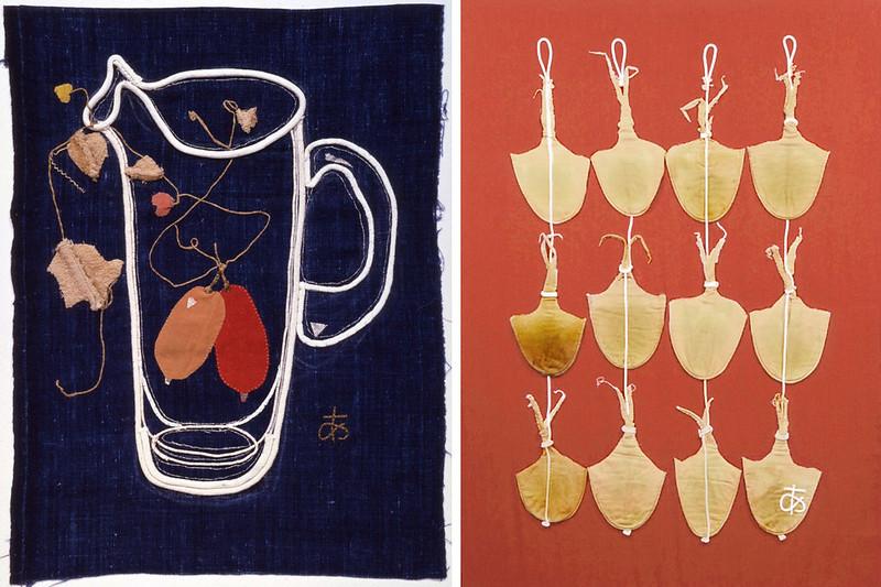 左)《からす瓜》(1983年、豊田市美術館蔵) 右)《フィルターのするめ》(1985年、豊田市美術館蔵)