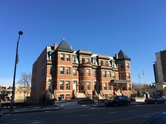 Grand brick row houses and blue sky, 14th Street NW, Columbia Heights, Washington, D.C.