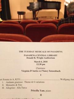 Tuesday Musicale @Pasadena Public Library