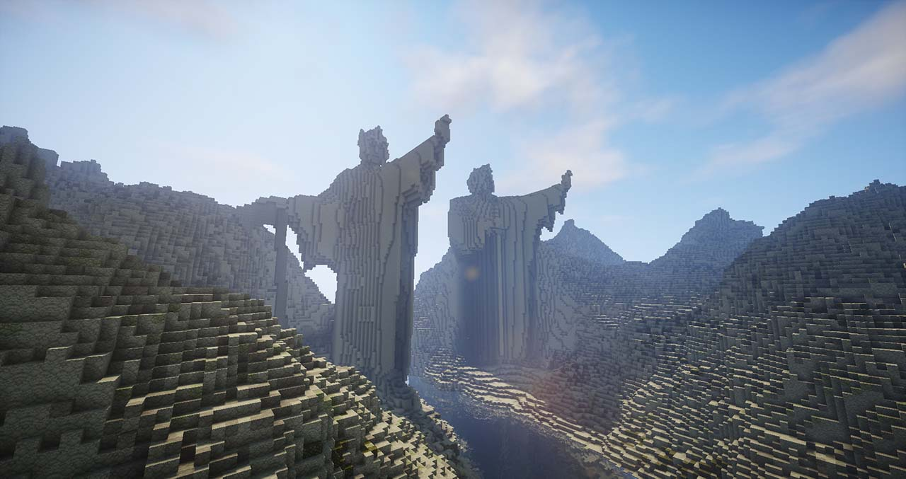 Minecraft Middle Earth By @mcmiddleearth: The Gates of Argonath (The Pillars Of Kings)