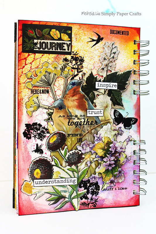 Meihsia Liu Simply Paper Crafts mixed media art journal Birds of Feather Simon Says Stamp Tim Holtz 601