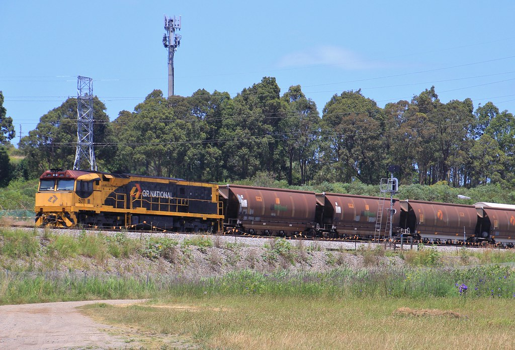 5011 trails on BW241 empty Aurizon coal after dumping their load at Kooragang Is by bukk05