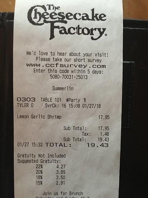 Cheesecake Facfory,  food bill