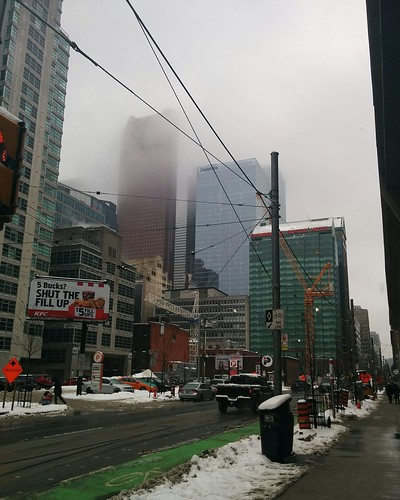 Financial District under winter fog #toronto #financialdistrict #skyline #winter #fog #churchstreet #richmondstreet