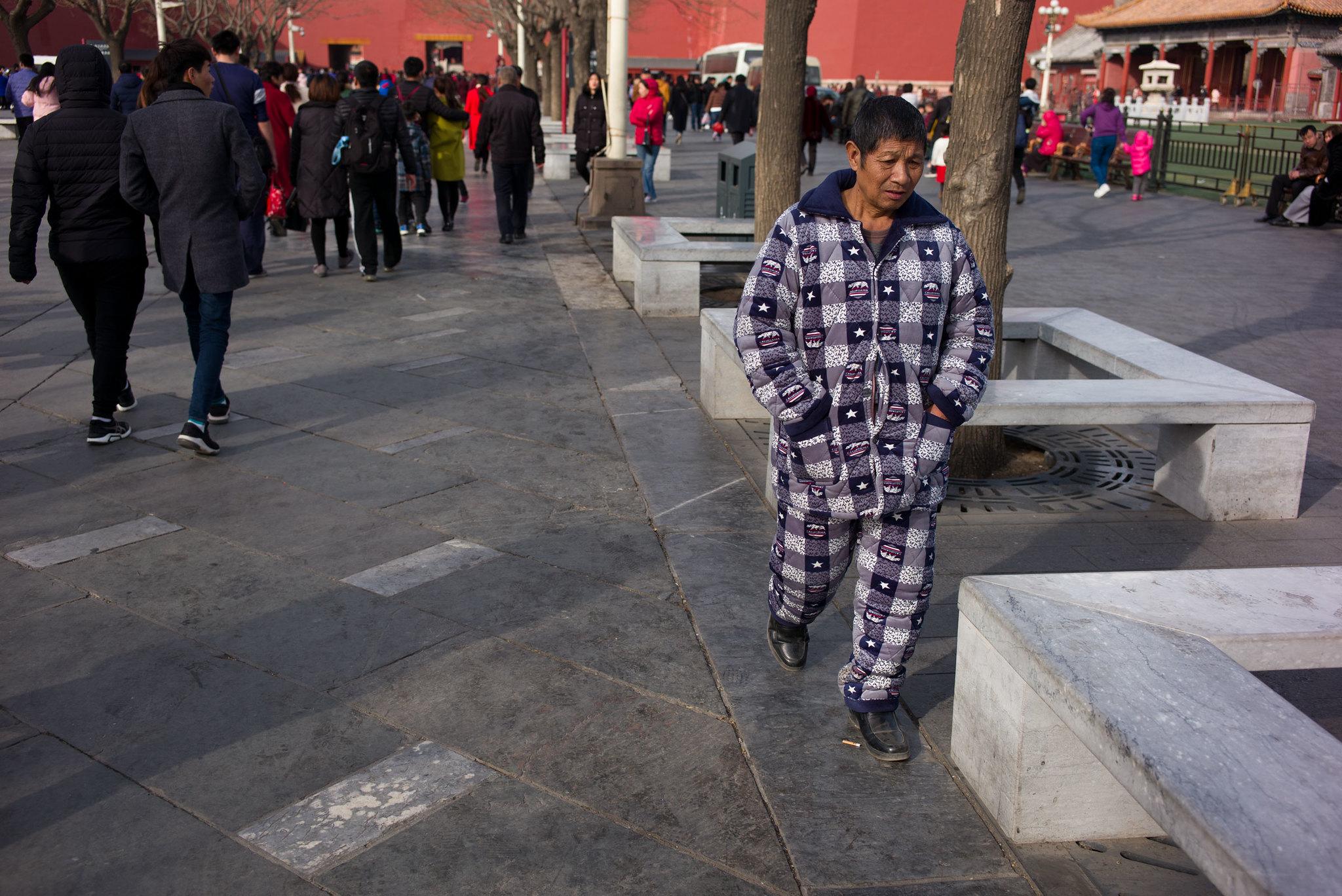 Schlafanzug vor der Verbotenen Stadt