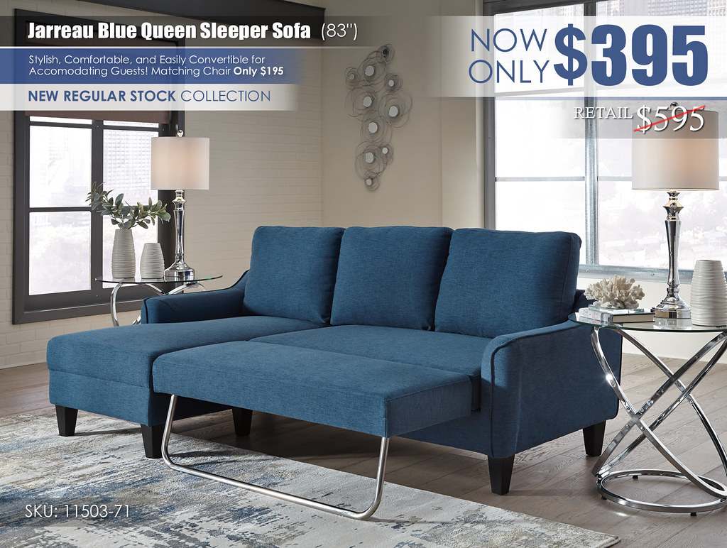 Jarreau Blue Sleeper Sofa_11503-71-OPEN