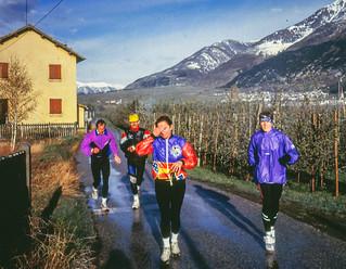 Morgenlauf Josef, Wolfgang, Ana, Gisela im Trainingslager Südtriol