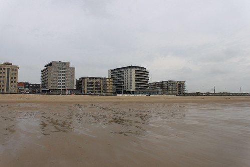view from beach on apartments in Mariakerke