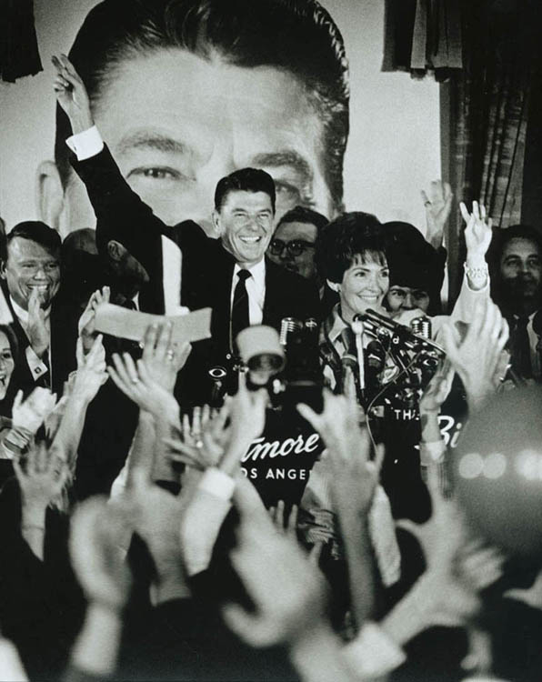 Ronald Reagan and Nancy Reagan at the Victory celebration for California Governor at the Biltmore Hotel in Los Angeles, California, on November 8, 1966.