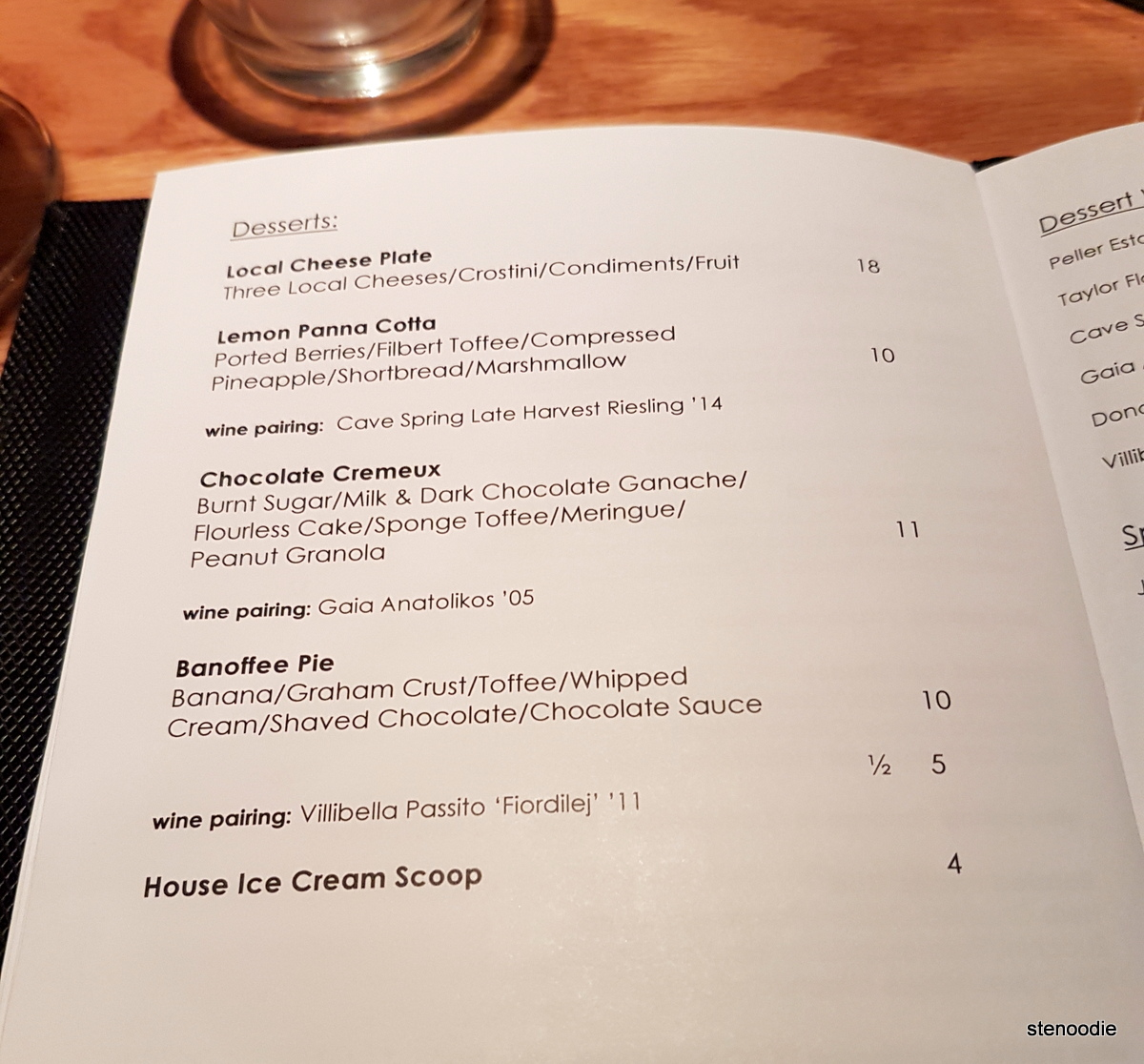 Allium Restaurant dessert menu and prices