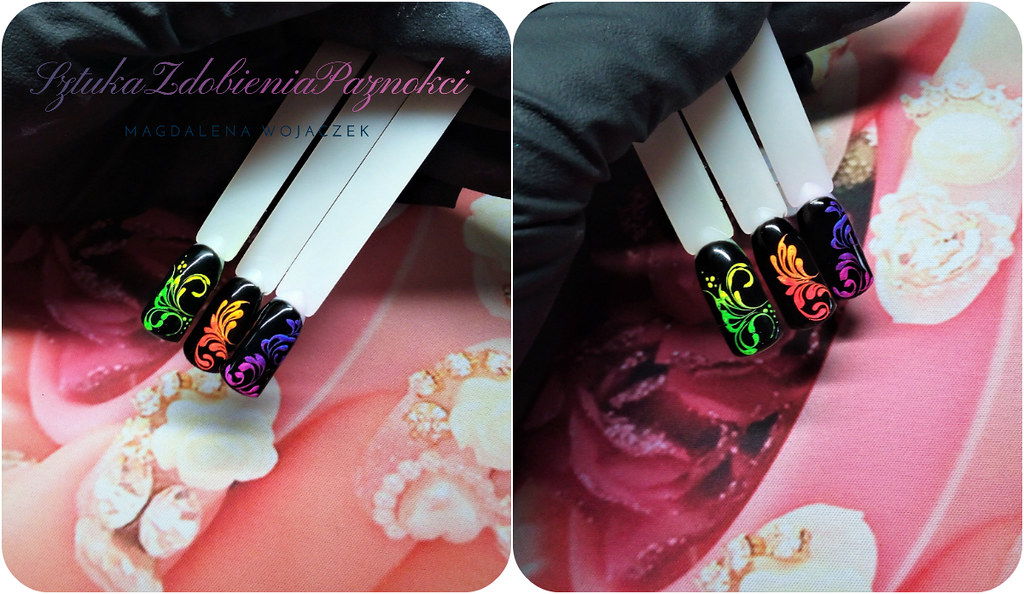 ornamenty na paznokciach i pyłki neon