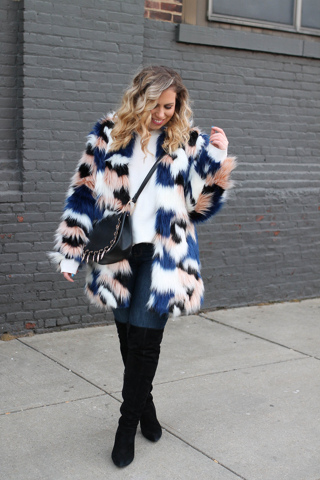 Colorful Faux Fur Winter Coat Old Navy Rockstar Jeans Black Suede OTK Boots Winter Outfit Inspiration