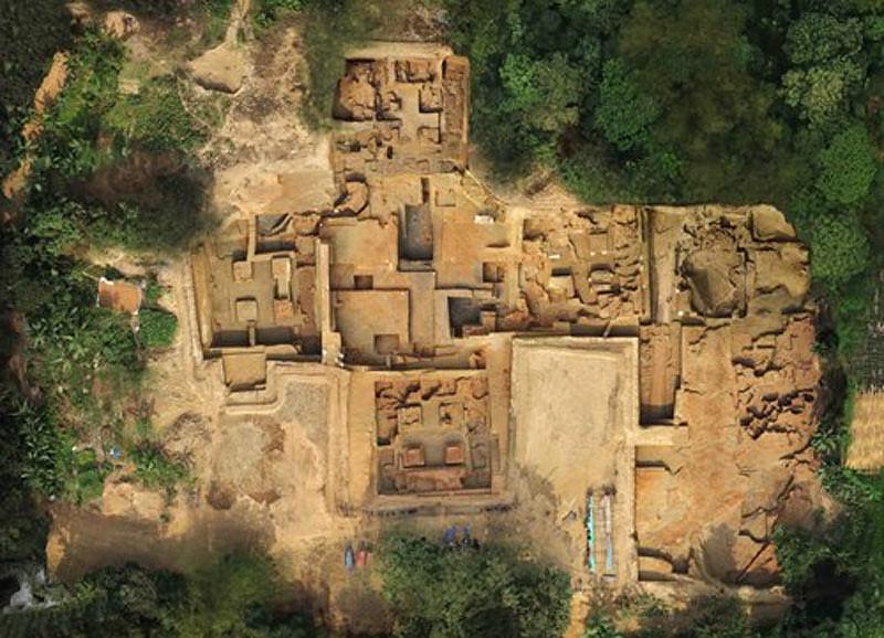 Tampak atas dari situs Vikrampura di Distrik Munshiganj, Bangladesh