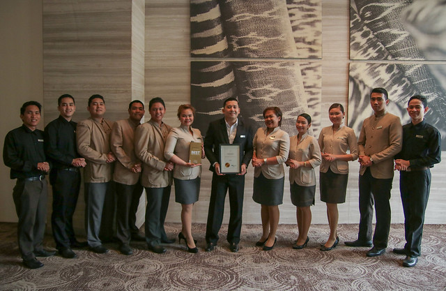 Misto F&B Service Team led by Asst. F&B Manager Jules Melencion with the T Dining by PH Tatler award (photo by Misto at Seda Abreeza)