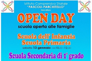 Noicattaro. Locandina Open Day Pascoli-Parchitello front