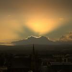 Dawn sunshine over Preston