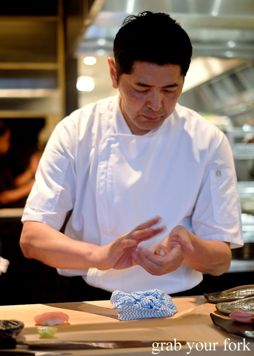Chef Ryuichi Yoshii handpressing sushi rice with marlin at Fujisaki by Lotus at Barangaroo in Sydney