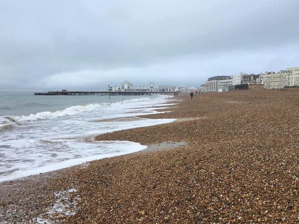 Southsea beach and pier Portsmouth to Hayling Island walk