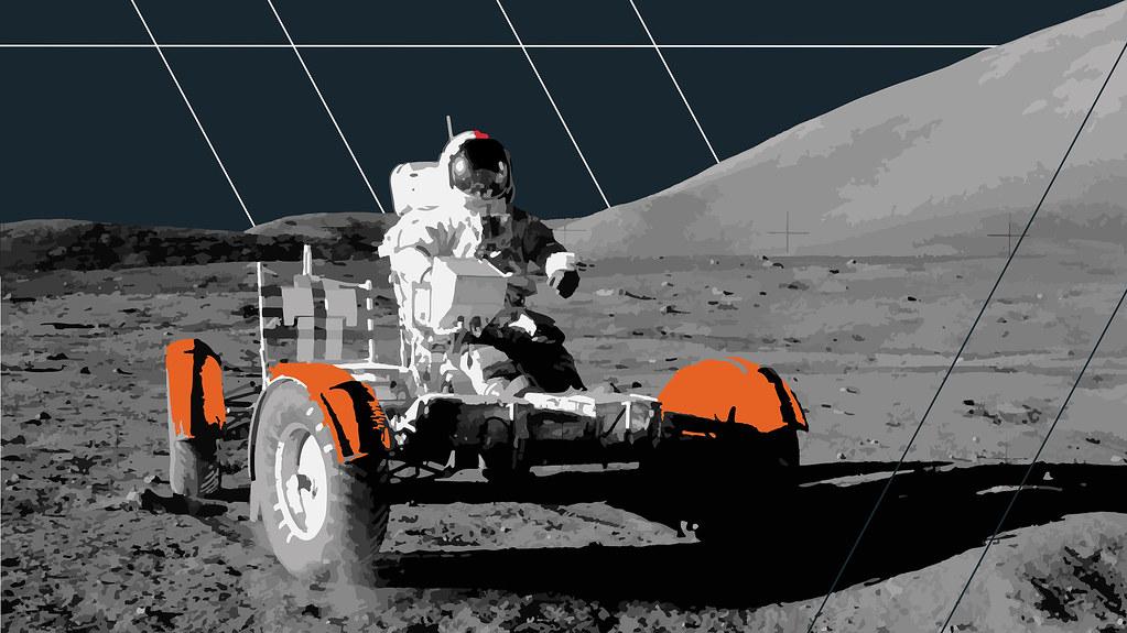 An astronaut on a lunar rover