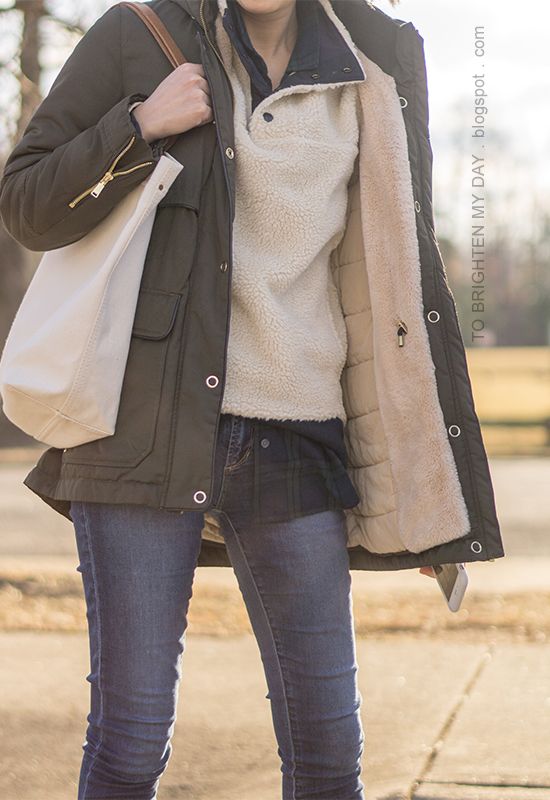 olive green parka, fleece pullover, black watch plaid button up, skinny jeans, canvas tote