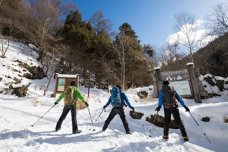 冬の赤岳の集合写真