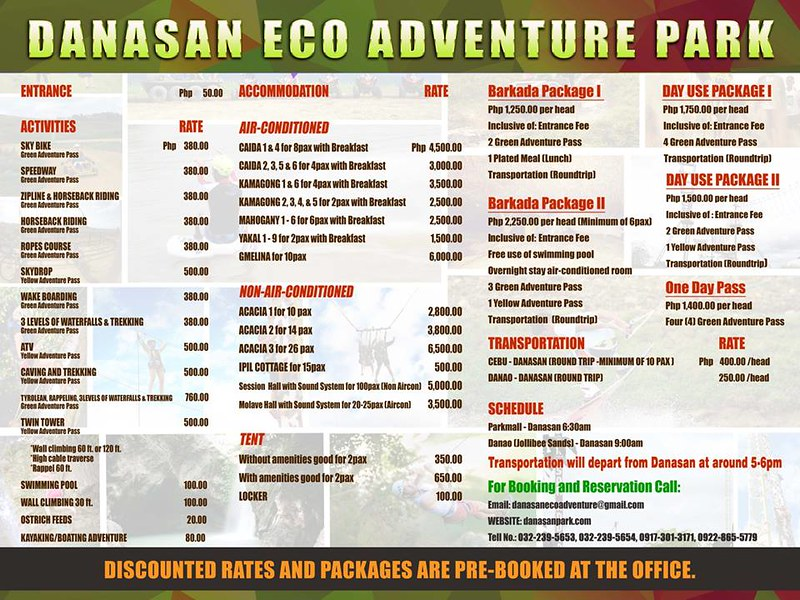 Danasan Eco Adventure Park Rates