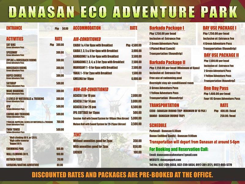 Danasan Eco Adventure Park Rates