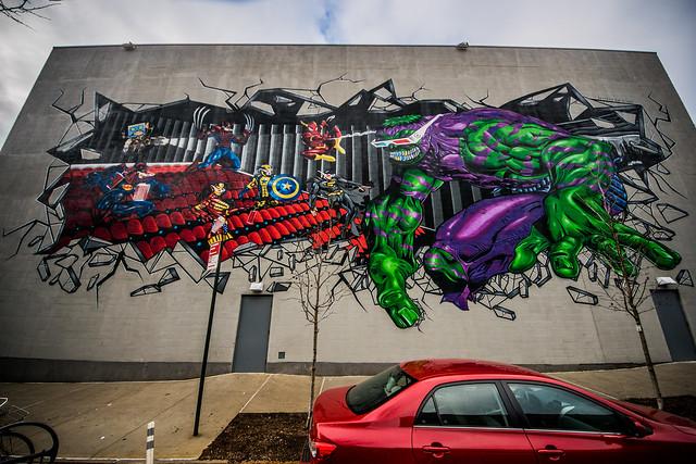 Justice League / Avengers 3D Street Art at Williamsburg Cinemas