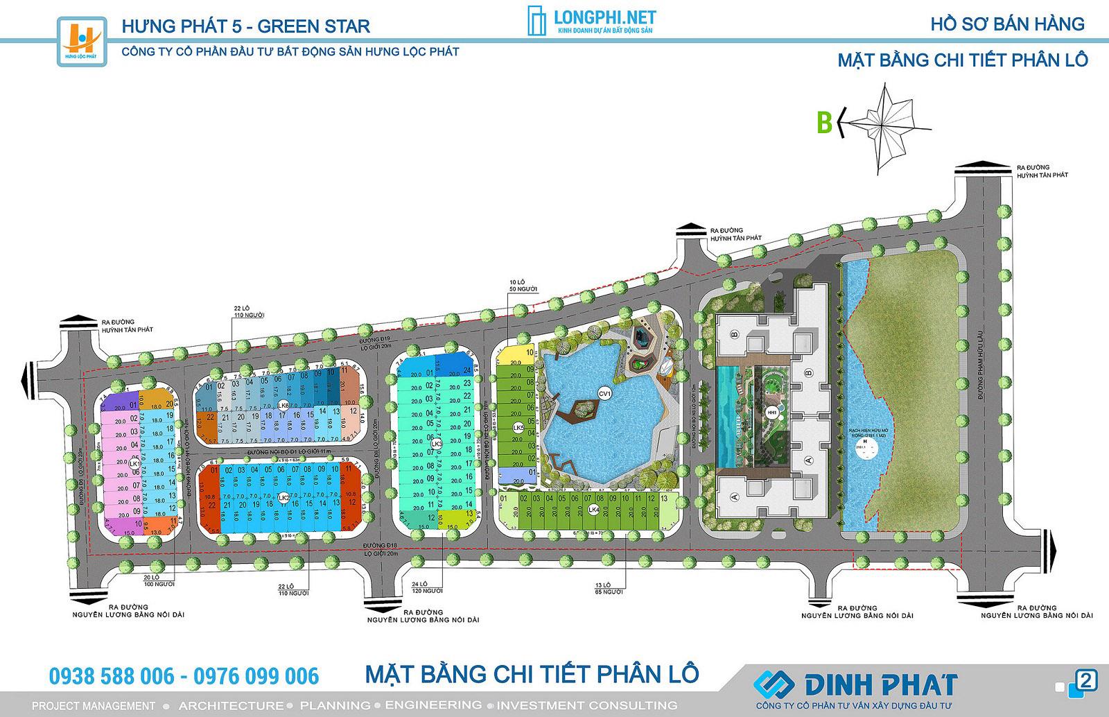 Chi tiết mặt bằng phân lô dự án Hưng Phát Green Star quận 7 - Hưng Lộc Phát.