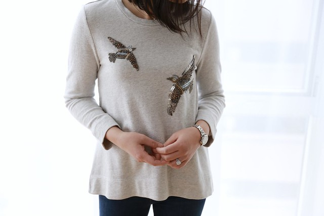 LOFT Beaded Bird Sweatshirt, size XS regular