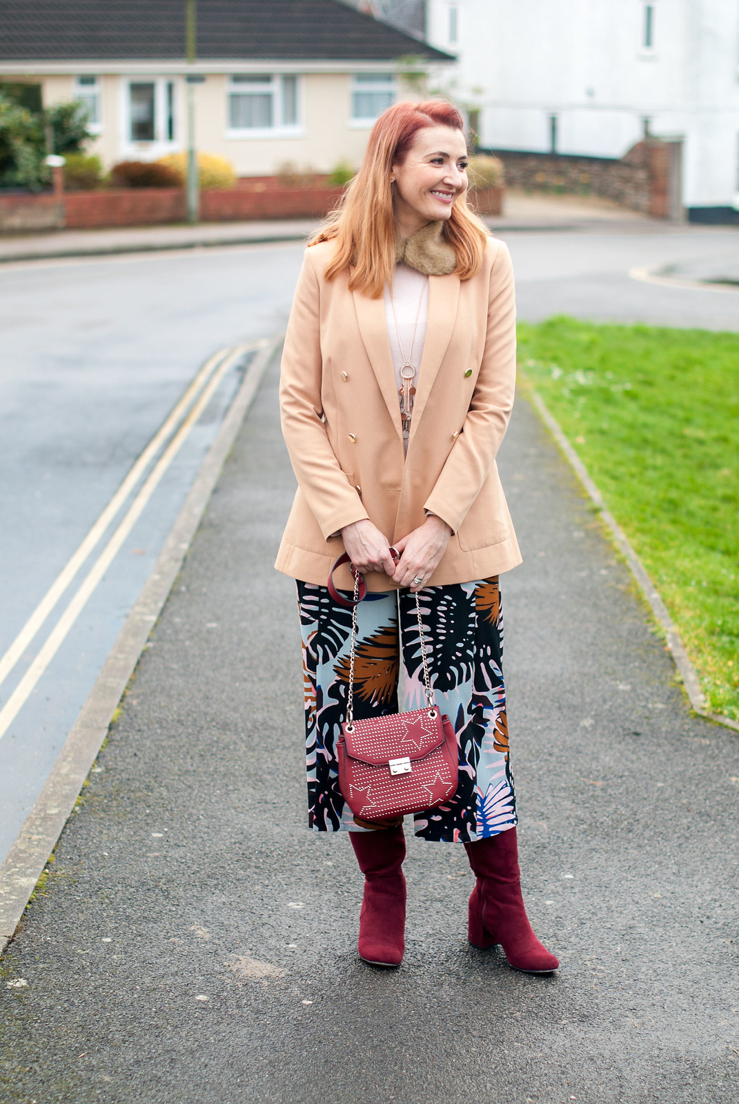 Styling Summer Pants in Winter: camel blazer, floral wide leg culottes, pink cashmere sweater, burgundy red suede boots | Not Dressed As Lamb, over 40 style