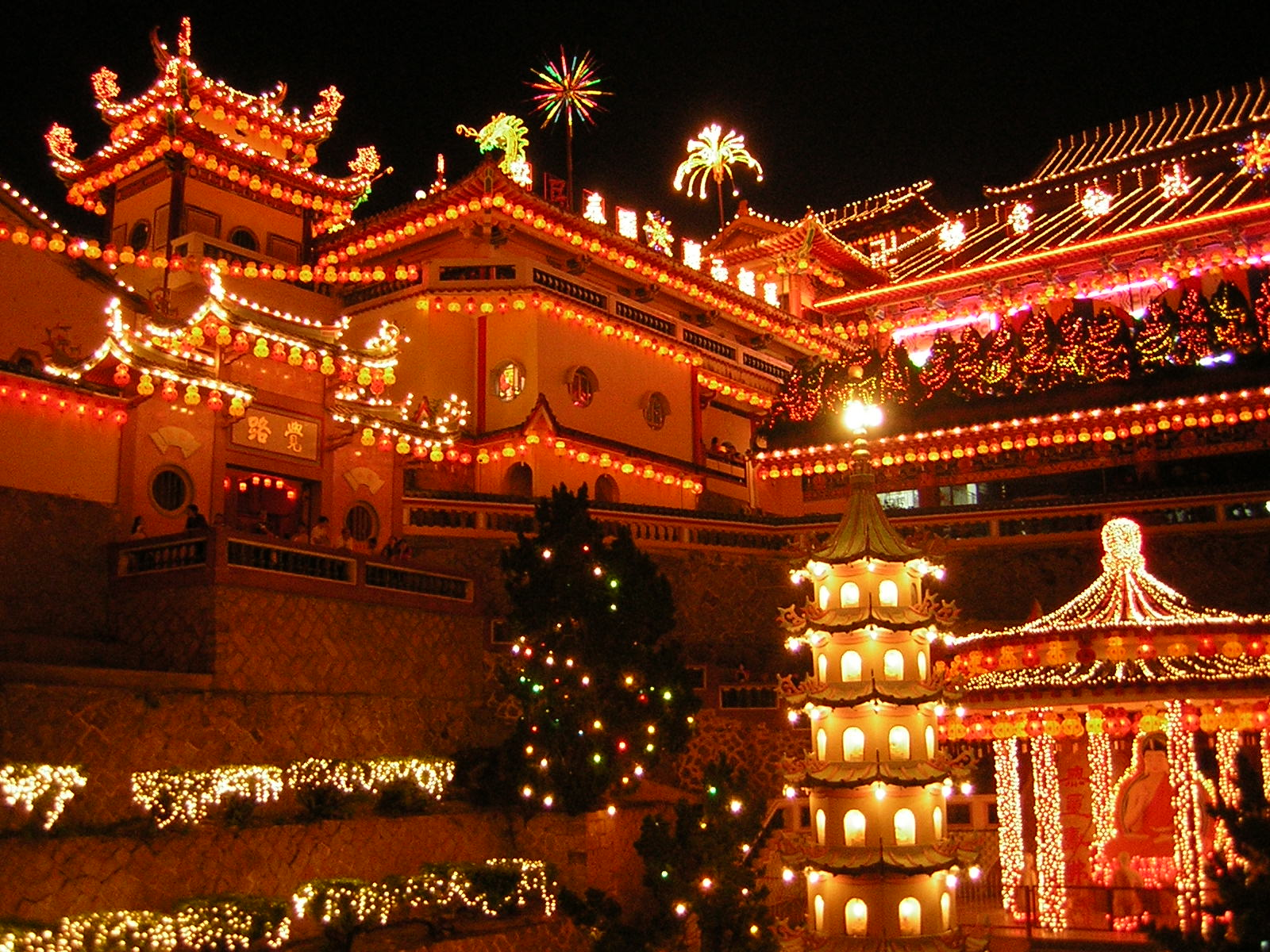 Southeast Asia's largest temple – Kek Lok Si near George Town in Penang, Malaysia – illuminated in preparation for the Lunar New Year. Photo taken on February 20, 2005 (Year of the Rooster).