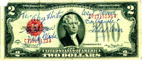 Inscribed Two-Dollar Bill Survived Earthquake and Tidal Wave