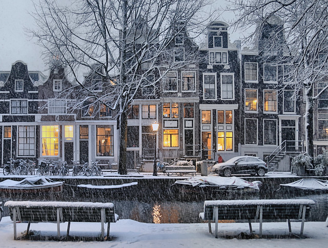 Enchanting warm lights on a cold wintry evening in Amsterdam