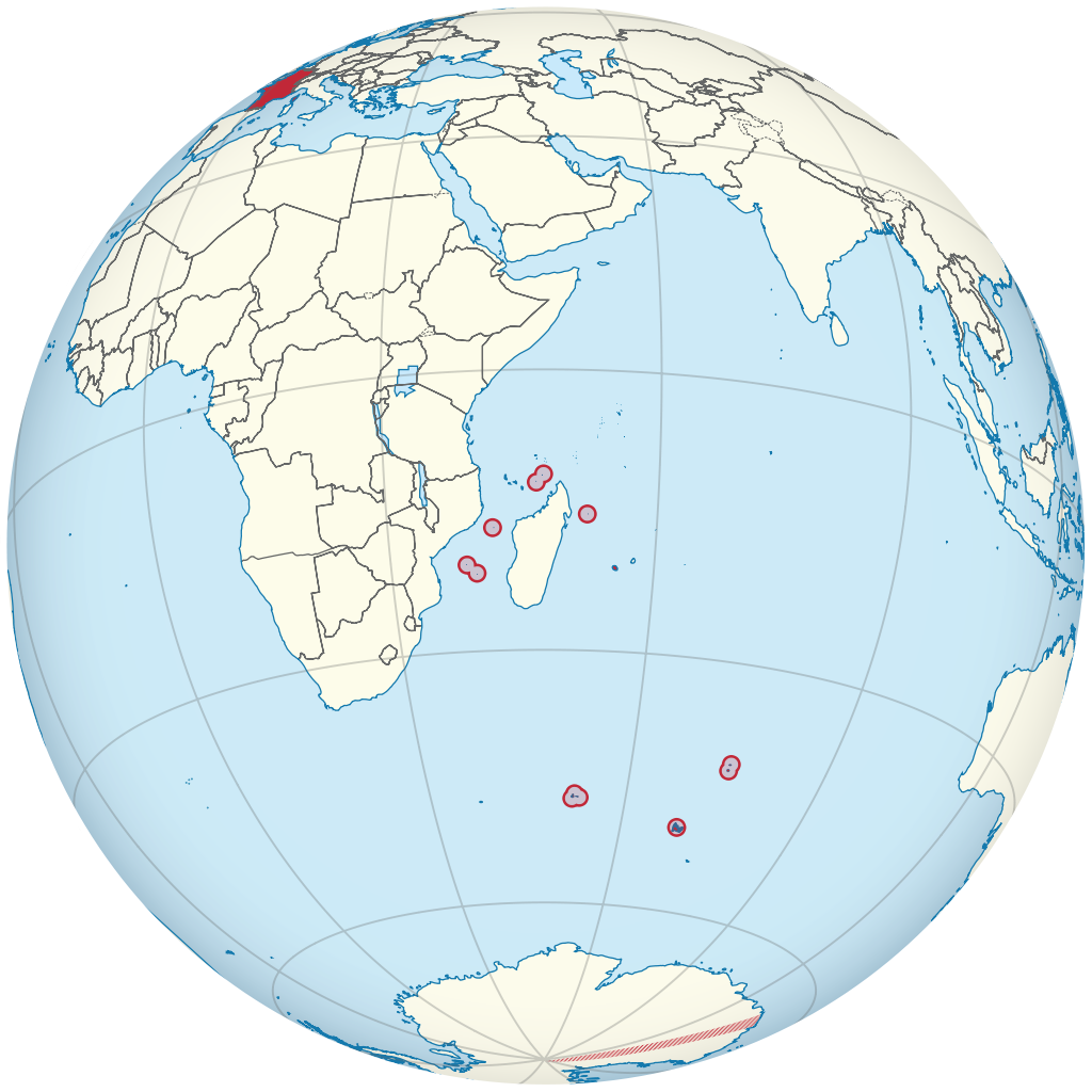 Glope showing location of the French Southern and Antarctic Territories in the Indian Ocean