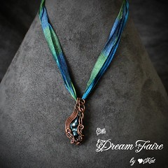 Organic Daydream - Baroque Pearl and Woven Copper Wire Necklace