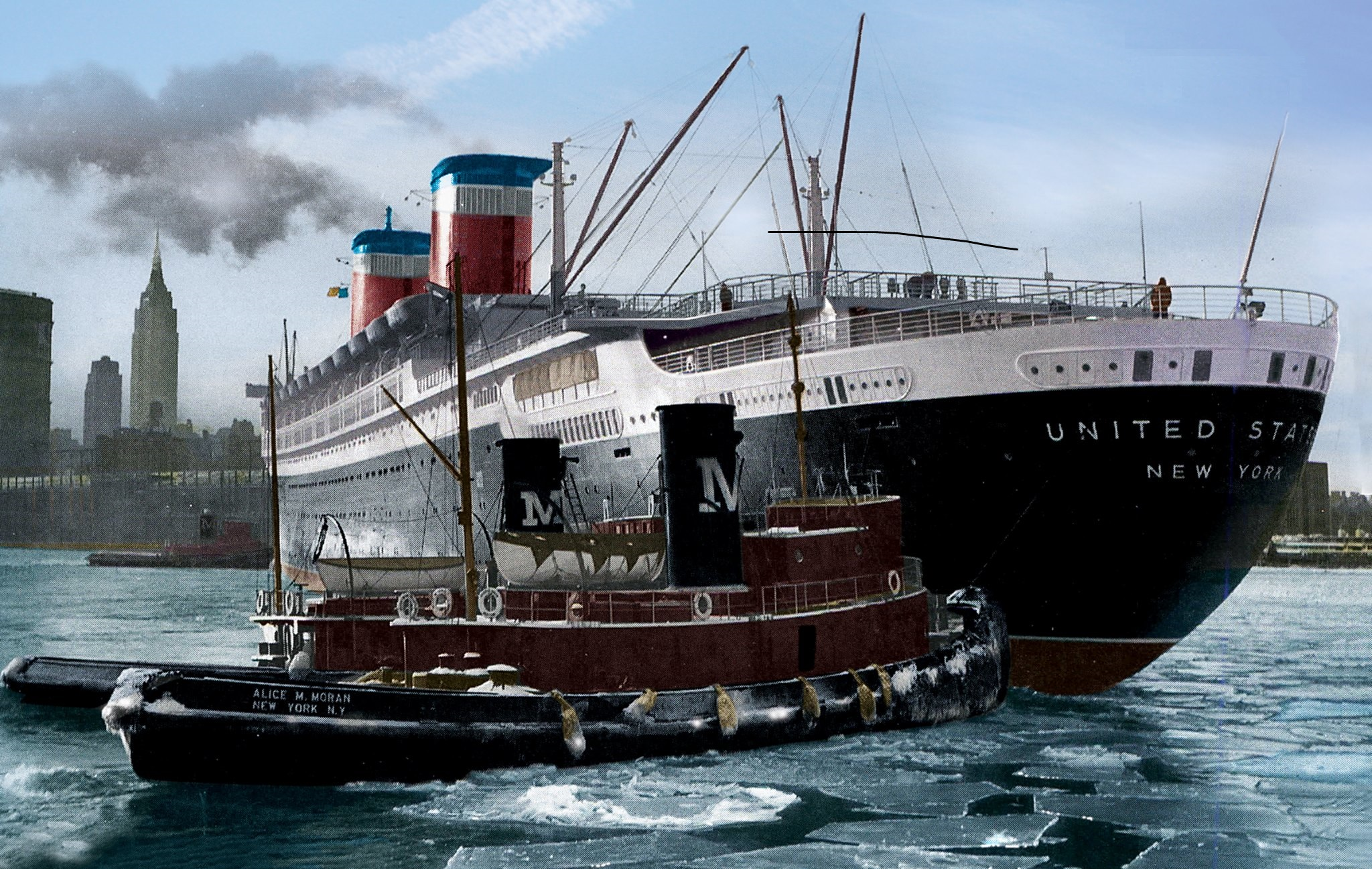 SS United States assisted by Moran tugboats in New York harbor.